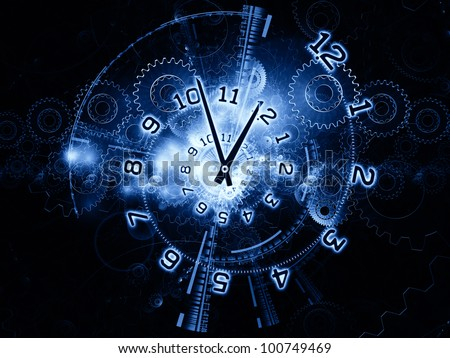 clock hands, gears, lights and numbers arrangement suitable as a backdrop in projects on time sensitive issues, deadlines, scheduling, digital technologies, past, present and future - stock photo