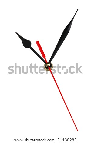 Clock hands isolated on white background. Copy space for your dial - stock photo