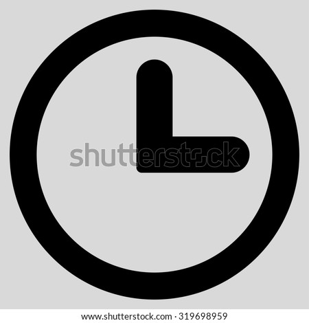 Clock icon from Primitive Set. This isolated flat symbol is drawn with black color on a light gray background, angles are rounded. - stock photo