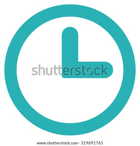 Clock icon from Primitive Set. This isolated flat symbol is drawn with cyan color on a white background, angles are rounded. - stock photo