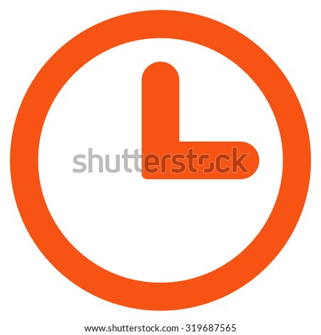 Clock icon from Primitive Set. This isolated flat symbol is drawn with orange color on a white background, angles are rounded. - stock photo
