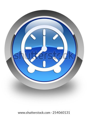 Clock icon glossy blue round button - stock photo