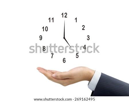 clock icon holding by businessman's hand over white background - stock photo