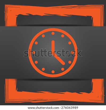 Clock icon. Internet button on grey background.