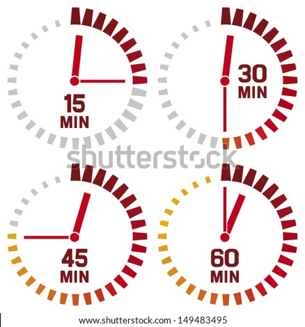 clock icons - fifteen, thirty, forty-five and sixty minutes (simple timers) - stock photo