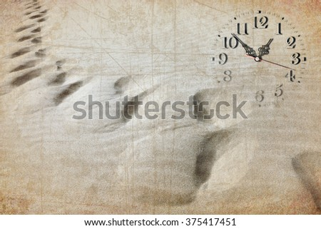 Clock image, sand dune and human foot traces. Time passing concept.  Old paper textured background - stock photo