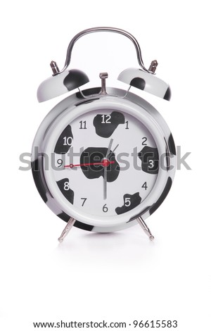 clock in a stylish black spots, isolated on white - stock photo