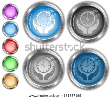 clock in hands. Raster internet buttons. - stock photo