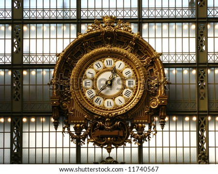 Clock inside Orsay Museum, Paris, France - stock photo