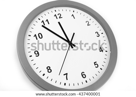 Clock isolated on plain background - stock photo