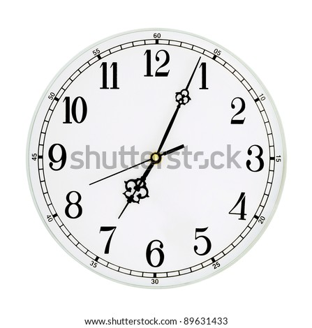 Clock isolated on white background - stock photo