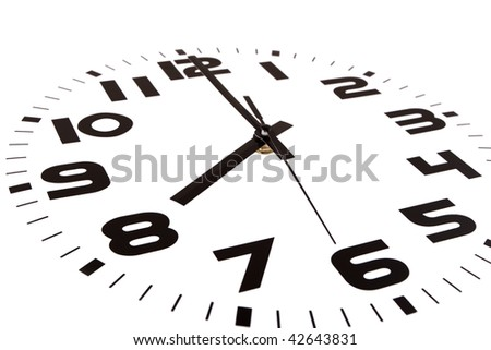 Clock isolated on white marking the eight o'clock hour. The main focus is in the hour hand. - stock photo