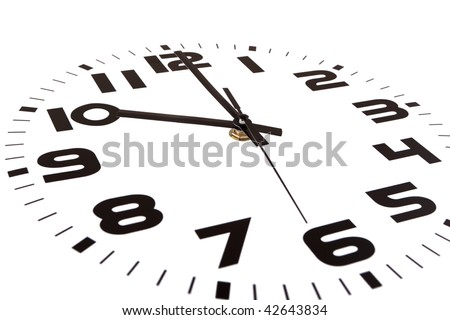 Clock isolated on white marking the ten o'clock hour. The main focus is in the hour hand. - stock photo