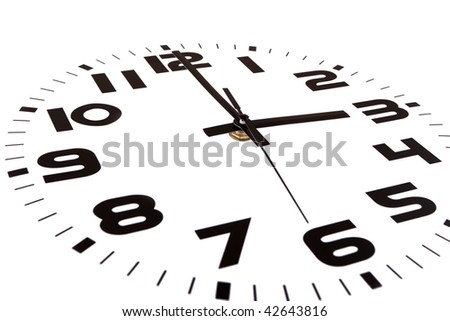 Clock isolated on white marking the three o'clock hour. The main focus is in the hour hand. - stock photo