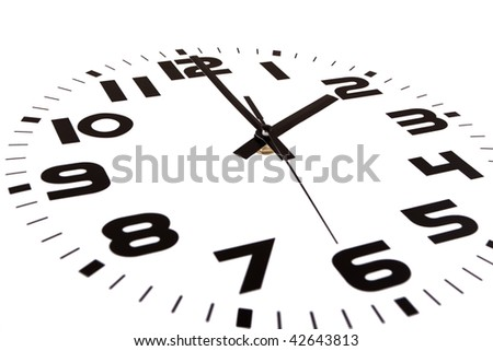 Clock isolated on white marking the two o'clock hour. The main focus is in the hour hand. - stock photo