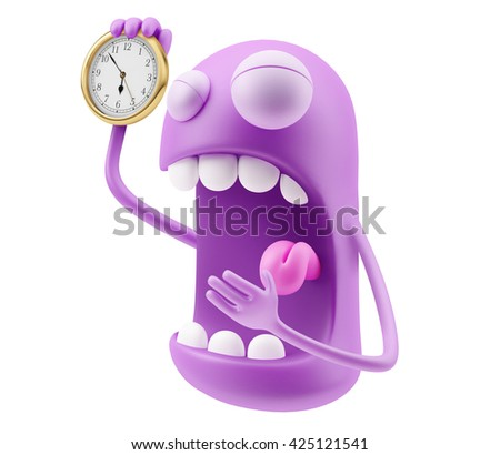 Clock Late Emoticon Face. 3d Rendering. - stock photo