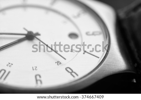 Clock. Macro with blur and soft focus.  - stock photo