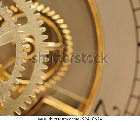 clock mechanic inside, clockwork close up. - stock photo