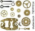 Clock mechanism, a set of gears and arrows. Isolated with clipping path - stock photo