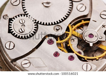 Clock mechanism close-up - stock photo