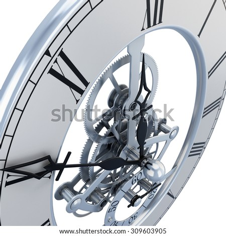 Clock mechanism close-up on a white. 3d render image. - stock photo