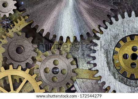 clock mechanism gears and cogs macro - stock photo