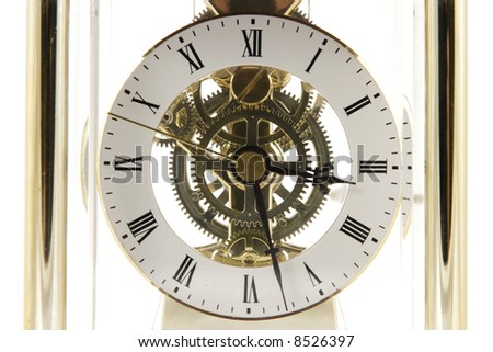Clock mechanism isolated on the white background - stock photo