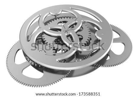 clock mechanism isolated on white background. 3d render - stock photo