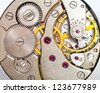 Clock mechanism macro shot - stock photo