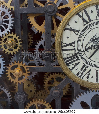 Clock mechanism made in the technique of toning. Very shallow depth of field. - stock photo
