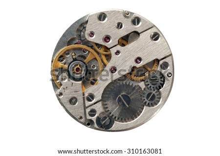 Clock mechanism with gears, closeup. Isolated on white. - stock photo