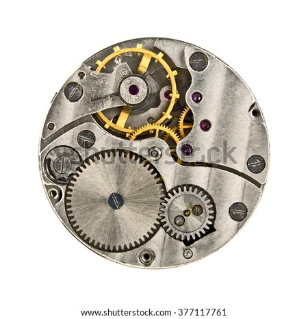 Clock mechanism with gears isolated on white background, close up - stock photo