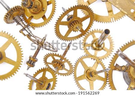 clock mechanisme isolated on white - stock photo