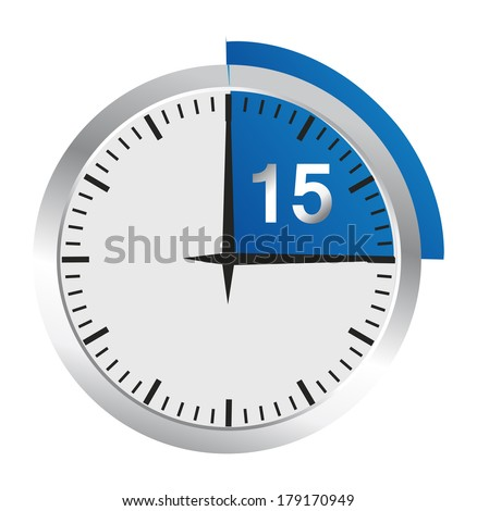 Clock 15 Minutes To Go - Bright Chrome Clock isolated on White background - stock photo