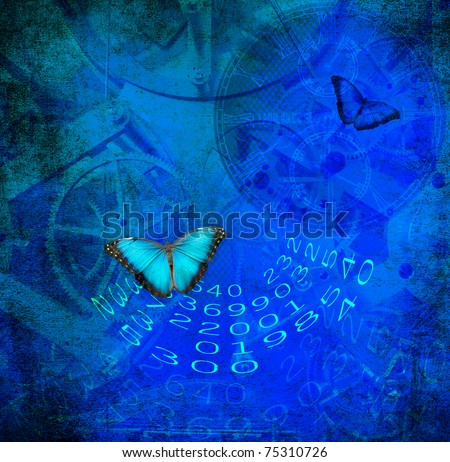 Clock,numbers before colored grunge background with butterfly - stock photo