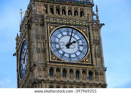 CLOCK OF BIG BEN , WESTMINSTER , LONDON - stock photo