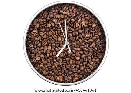 Clock of coffee grains isolated on white background. Clock pointed at seven o'clock - stock photo