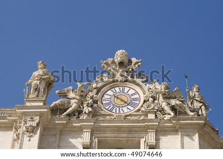 Clock of Saint Peter's basilica,Rome,Italy. - stock photo