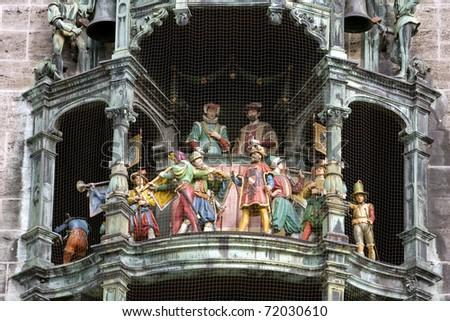 Clock of the new City Hall at Marienplatz in Munich, Germany - stock photo