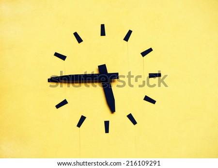 Clock on a building facade - stock photo