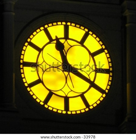 Clock on a building in Philadelphia, PA - stock photo