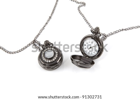 Clock on a white background. - stock photo
