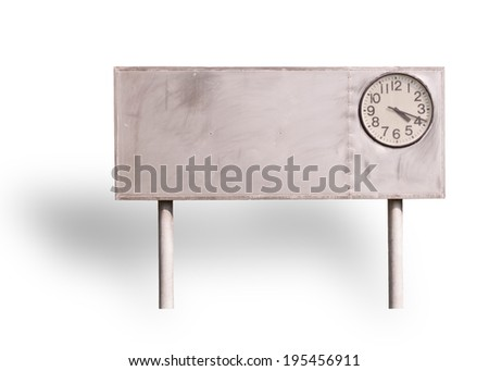 clock on billboard isolated on white background, - stock photo
