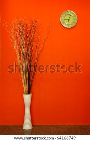 Clock on colorful wall - stock photo