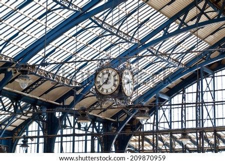Clock on railway station in London, UK