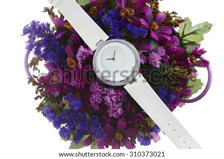 Clock on the flowers - stock photo