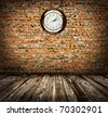 clock on the Old wall - stock photo