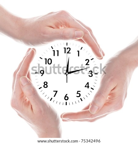 clock or watch with hands isolated on white background showing time concept