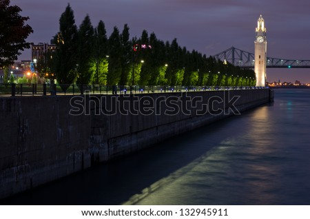 Clock Pier and  Clock Tower - stock photo