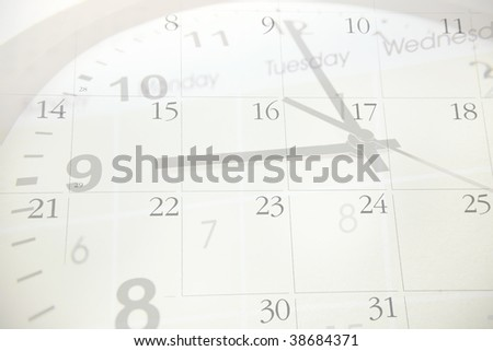 Clock pointing to nine. Calendar numbers. - stock photo